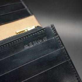 ロカド社製オイル仕上げコードバンのブラック色のスタンダード長財布(ゴールド色)-1-13