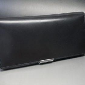 ロカド社製オイル仕上げコードバンのブラック色のスタンダード長財布(ゴールド色)-1-2