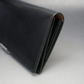 ロカド社製オイル仕上げコードバンのブラック色のスタンダード長財布(ゴールド色)-1-3