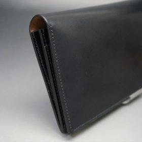 ロカド社製オイル仕上げコードバンのブラック色のスタンダード長財布(ゴールド色)-1-4