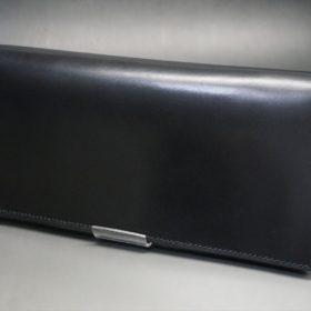 ロカド社製オイル仕上げコードバンのブラック色のスタンダード長財布(ゴールド色)-1-5