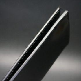 ロカド社製オイル仕上げコードバンのブラック色のスタンダード長財布(ゴールド色)-1-6