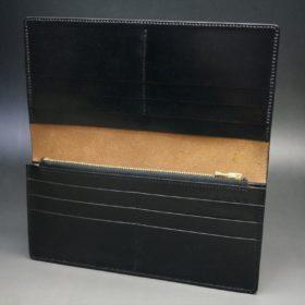 ロカド社製オイル仕上げコードバンのブラック色のスタンダード長財布(ゴールド色)-1-9