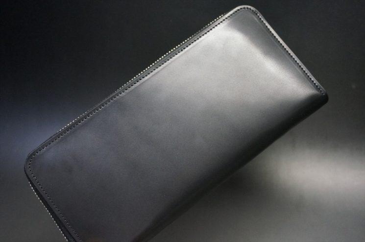 ロカド社製オイル仕上げコードバンのブラック色のラウンドファスナー長財布(シルバー色)-1-1