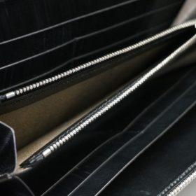 ロカド社製オイル仕上げコードバンのブラック色のラウンドファスナー長財布(シルバー色)-1-10
