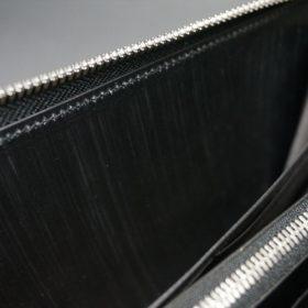 ロカド社製オイル仕上げコードバンのブラック色のラウンドファスナー長財布(シルバー色)-1-12