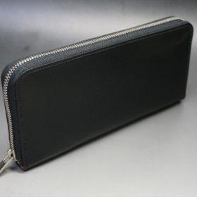 ロカド社製オイル仕上げコードバンのブラック色のラウンドファスナー長財布(シルバー色)-1-2