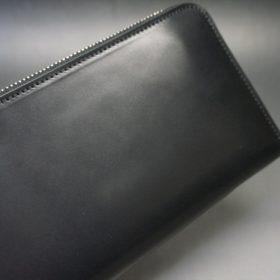 ロカド社製オイル仕上げコードバンのブラック色のラウンドファスナー長財布(シルバー色)-1-3