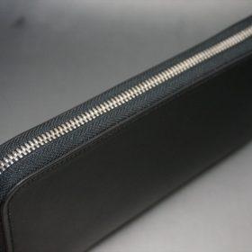 ロカド社製オイル仕上げコードバンのブラック色のラウンドファスナー長財布(シルバー色)-1-4