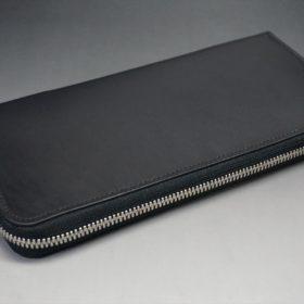 ロカド社製オイル仕上げコードバンのブラック色のラウンドファスナー長財布(シルバー色)-1-5