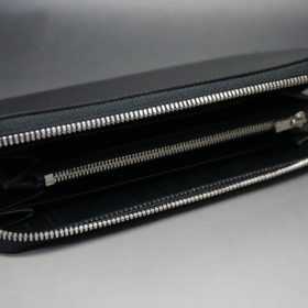 ロカド社製オイル仕上げコードバンのブラック色のラウンドファスナー長財布(シルバー色)-1-6