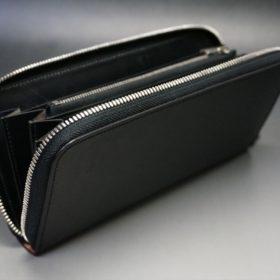 ロカド社製オイル仕上げコードバンのブラック色のラウンドファスナー長財布(シルバー色)-1-7