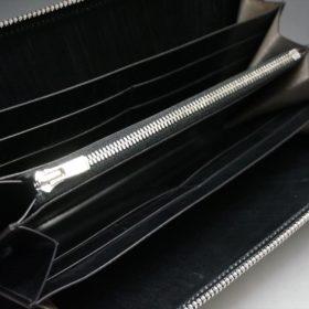 ロカド社製オイル仕上げコードバンのブラック色のラウンドファスナー長財布(シルバー色)-1-8
