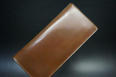 ロカド社製オイルコードバンのブラウン色のスタンダード長財布(ゴールド色)-1-1