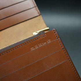 ロカド社製オイルコードバンのブラウン色のスタンダード長財布(ゴールド色)-1-11