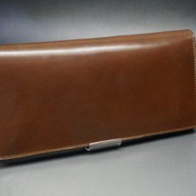 ロカド社製オイルコードバンのブラウン色のスタンダード長財布(ゴールド色)-1-2