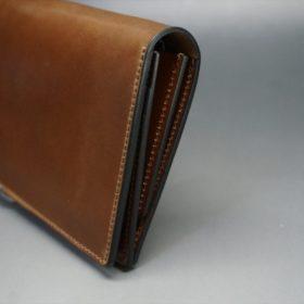 ロカド社製オイルコードバンのブラウン色のスタンダード長財布(ゴールド色)-1-3
