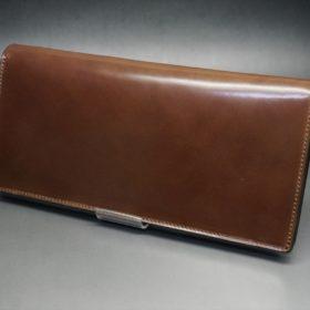 ロカド社製オイルコードバンのブラウン色のスタンダード長財布(ゴールド色)-1-4