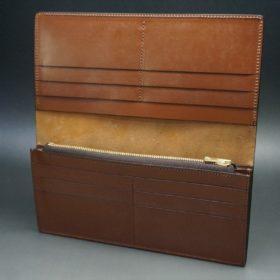 ロカド社製オイルコードバンのブラウン色のスタンダード長財布(ゴールド色)-1-7