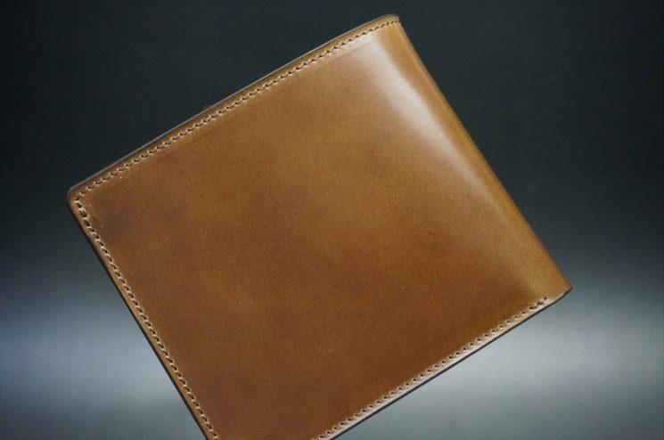 ロカド社製シェルコードバンのブラウン色の二つ折り財布(ゴールド色)-1-1