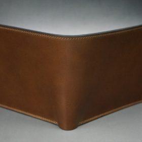 ロカド社製シェルコードバンのブラウン色の二つ折り財布(ゴールド色)-1-2