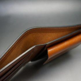 ロカド社製シェルコードバンのブラウン色の二つ折り財布(ゴールド色)-1-4