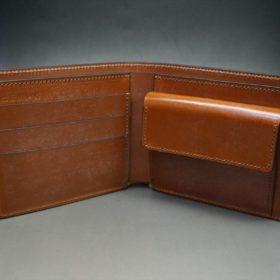 ロカド社製シェルコードバンのブラウン色の二つ折り財布(ゴールド色)-1-5