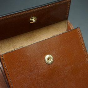 ロカド社製シェルコードバンのブラウン色の二つ折り財布(ゴールド色)-1-9