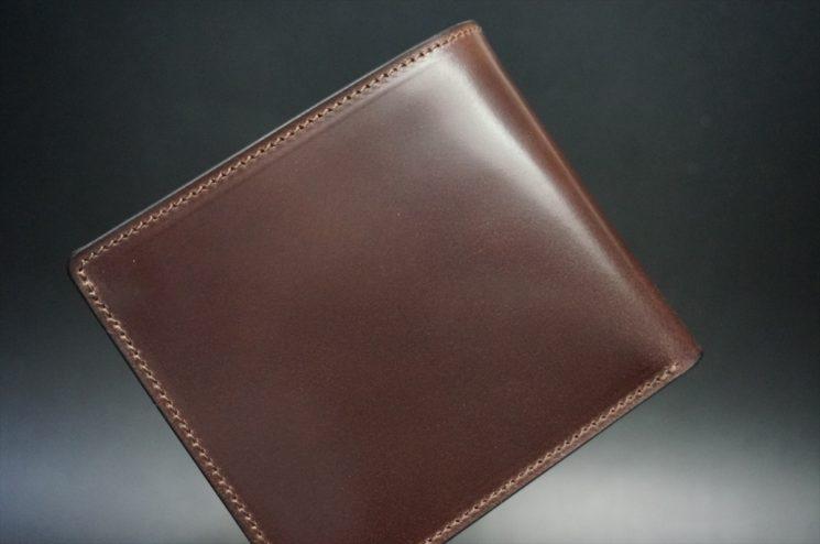 ロカド社製オイル仕上げコードバンのダークバーガンディ色の二つ折り財布(ゴールド色)-1-1
