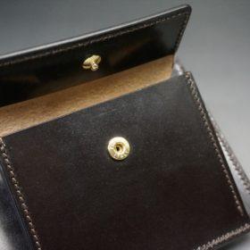 ロカド社製オイル仕上げコードバンのダークバーガンディ色の二つ折り財布(ゴールド色)-1-10
