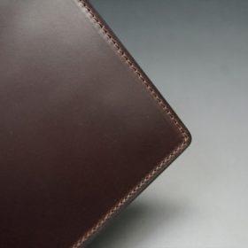 ロカド社製オイル仕上げコードバンのダークバーガンディ色の二つ折り財布(ゴールド色)-1-3
