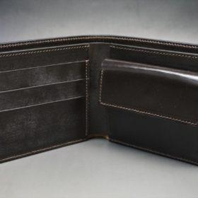 ロカド社製オイル仕上げコードバンのダークバーガンディ色の二つ折り財布(ゴールド色)-1-6