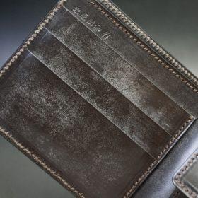 ロカド社製オイル仕上げコードバンのダークバーガンディ色の二つ折り財布(ゴールド色)-1-7
