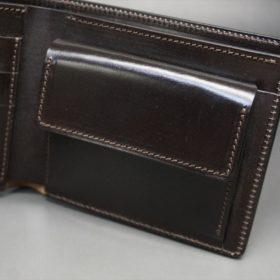 ロカド社製オイル仕上げコードバンのダークバーガンディ色の二つ折り財布(ゴールド色)-1-8
