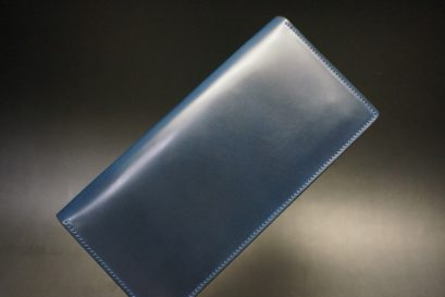 ロカド社製オイル仕上げコードバンのネイビー色のスタンダード長財布(シルバー色)-1-1
