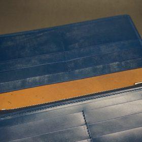 ロカド社製オイル仕上げコードバンのネイビー色のスタンダード長財布(シルバー色)-1-11