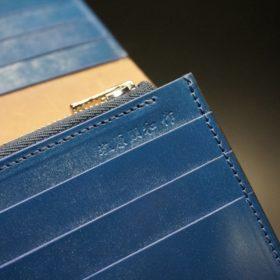 ロカド社製オイル仕上げコードバンのネイビー色のスタンダード長財布(シルバー色)-1-12