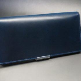 ロカド社製オイル仕上げコードバンのネイビー色のスタンダード長財布(シルバー色)-1-2