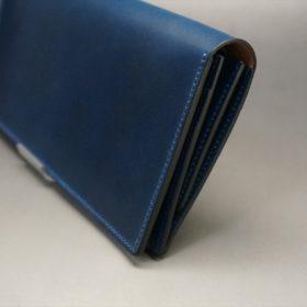 ロカド社製オイル仕上げコードバンのネイビー色のスタンダード長財布(シルバー色)-1-3