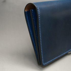 ロカド社製オイル仕上げコードバンのネイビー色のスタンダード長財布(シルバー色)-1-4