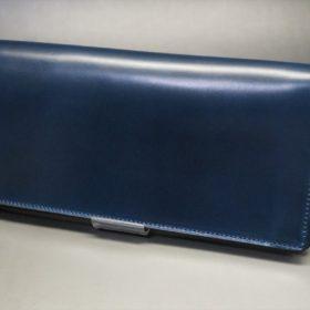 ロカド社製オイル仕上げコードバンのネイビー色のスタンダード長財布(シルバー色)-1-5
