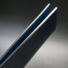 ロカド社製オイル仕上げコードバンのネイビー色のスタンダード長財布(シルバー色)-1-6