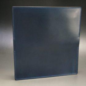 ロカド社製オイル仕上げコードバンのネイビー色のスタンダード長財布(シルバー色)-1-7