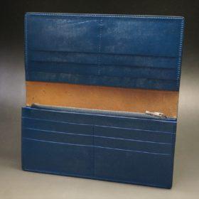 ロカド社製オイル仕上げコードバンのネイビー色のスタンダード長財布(シルバー色)-1-8