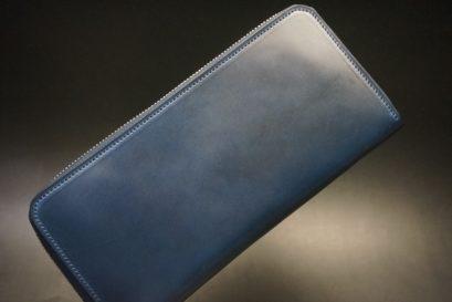 ロカド社製オイル仕上げコードバンのネイビー色のラウンドファスナー長財布(シルバー色)-1-1