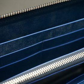 ロカド社製オイル仕上げコードバンのネイビー色のラウンドファスナー長財布(シルバー色)-1-11