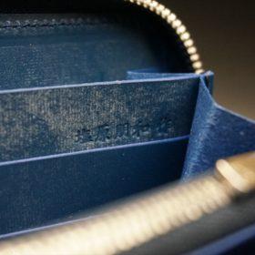 ロカド社製オイル仕上げコードバンのネイビー色のラウンドファスナー長財布(シルバー色)-1-12