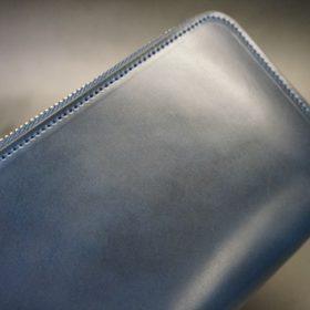ロカド社製オイル仕上げコードバンのネイビー色のラウンドファスナー長財布(シルバー色)-1-3