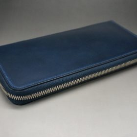 ロカド社製オイル仕上げコードバンのネイビー色のラウンドファスナー長財布(シルバー色)-1-5