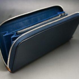 ロカド社製オイル仕上げコードバンのネイビー色のラウンドファスナー長財布(シルバー色)-1-7